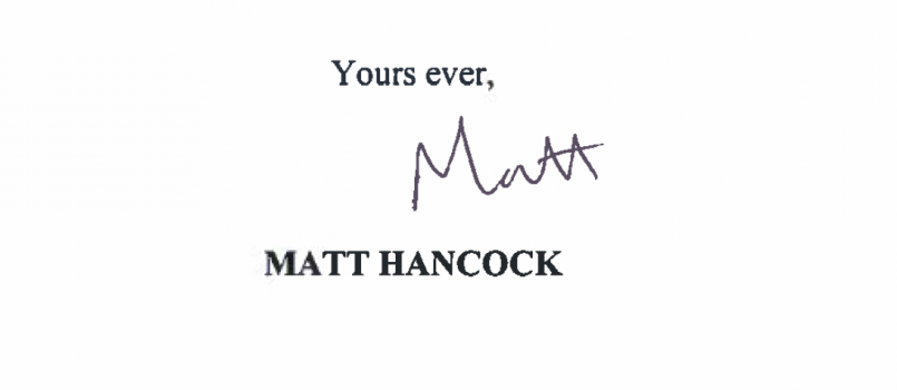 reply from Matt Hancock Secretary of State for Health to Open Letter
