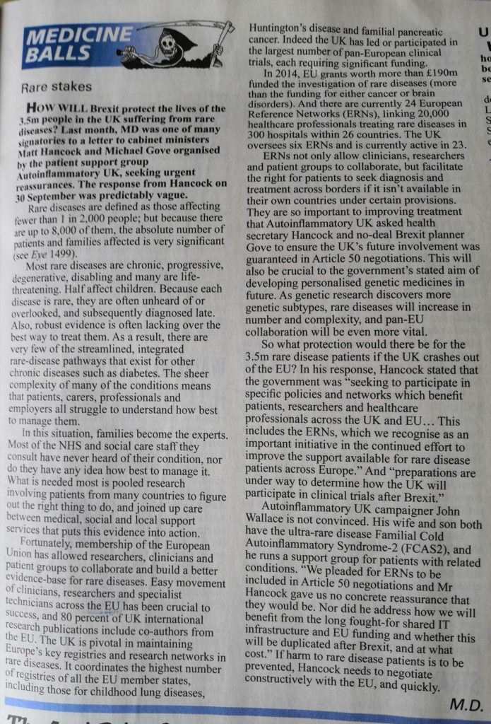 Private Eye No. 1507 18-31 October 2019, page 17.
